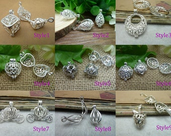 2Pcs Silver Plated Lovely Filigree Wish Box Magic Box Charm Pendant,Wishing Box Charms,9 Styles for choose--p1094
