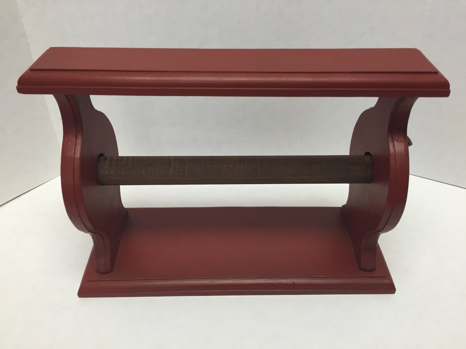 Vintage Wood Wooden Paper Towel Holder Painted Barn Red Aged