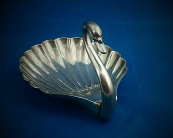 Swan trinket dish / ring tray made in silver plate by Seba of England - 1960s  Swan figurine