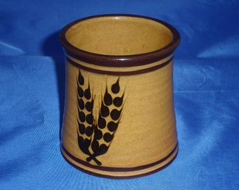 Pottery Mug by Suffolk potter TB Layham - Yellow and brown slipware glazes over a red clay base. Wheat Ear design