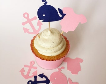 24 Nautical baby shower cupcake toppers, pink anchors and whales cupcake toppers, nautical girl baby shower, preppy baby shower, pink onesie