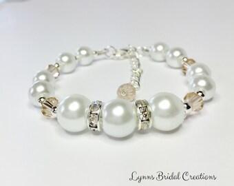 White Pearl Bracelet Topaz Crystal Topaz Bracelet Wedding Jewelry Bridesmaid Gift Crystal Bracelet Pearl Bracelet Mother of the Bride