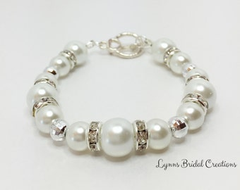 White Pearl Wedding Bracelet Bridesmaid Bracelet Jewelry Set Wedding Set Handmade Wedding Jewelry Rondelle Bracelet Beaded Jewelry