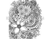 instant digital download - adult coloring page -  flower bouquet