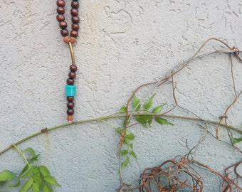 Long brown and turqouise beaded necklace