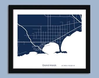 Grand Marais, MN map, Grand Marais city art map, Minnesota wall art poster, Grand Marais, MN decorative map