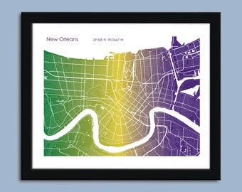 New Orleans map, New Orleans city map art, New Orleans Mardi Gras wall art poster, New Orleans decorative map