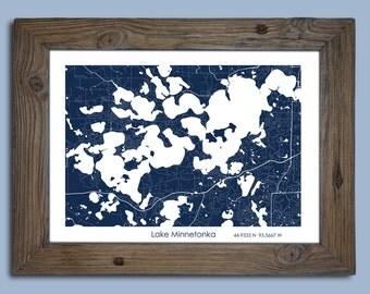Lake Minnetonka Gift, Custom Lake map, Cabin Decor
