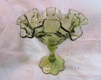 Fenton Cabbage Rose Footed Compote