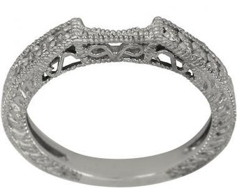 Curved Wedding Band Diamond Wedding Bands 14K Filigree Milgrain Diamond Bands