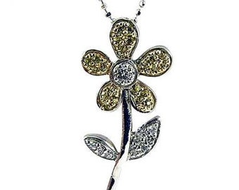 Flower Necklace Diamond Necklace Sapphire Necklace Pendant In 14k White Gold
