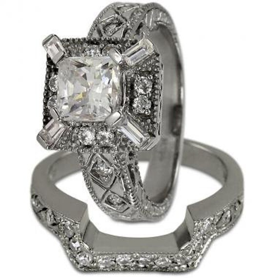 princess cut bridal set 3 4 carat wedding sets for