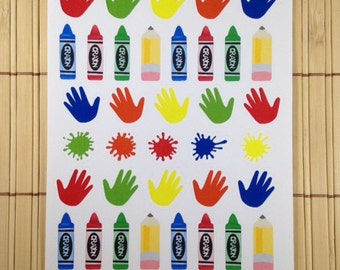 S101 - 41 Child's Play Stickers ~ Hands, Crayons, Paint Splatters, Pencils ~ Planner Labels