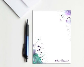 Personalized Stationery Personalized Notepad Set Personalized Note Pad Abstract Watercolor Stationery Letter Writing Set Stationery Paper