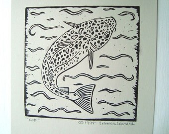 COD Print - 6x6. Black. Linoleum Prints Block Cuts Hand Printed Hand Carved Linocut Sea Print Block Prints Handmade Gifts