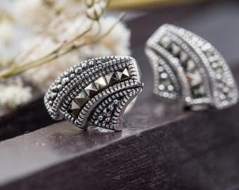 Marcasite shell studs - Marcasite Earrings / Stud Earrings / Marcasite Studs / Art Deco Earrings