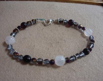 Rose quartz and Amethyst Anklet