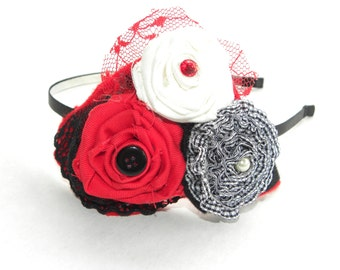 Red, White, and Black Flower Headband