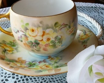 Delicate Antique La Seynie Limoges P and P France Teacup and Saucer with Yellow Roses