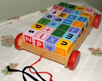 Classic Childs Wooden Wagon with 28 Wooden ABC Blocks in Very Good condition