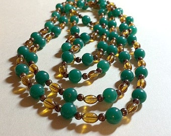 Vintage green beaded long necklace green necklace beaded necklace plastic bead necklace boho necklace 1960s
