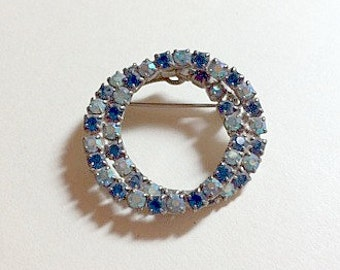 Sparkly vintage double circle blue rhinestone brooch rhinestone pin circle brooch circle pin blue brooch blue pin 1950s
