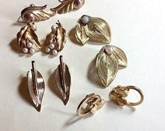 Sale Five pairs of gold vintage earrings leaf earrings vintage earring lot vintage jewelry lot vintage craft lot gold earring lot 1960s E22