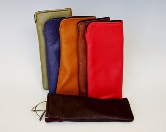 Soft leather eyeglass case