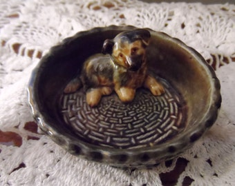 Wade Pottery Puppy In Basket (Vintage)