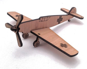 Messerschmitt stocking filler, fathers day, birthday, aeroplane, gift, personalised, toy, fun, unusual, cool, wedding favor, wooden