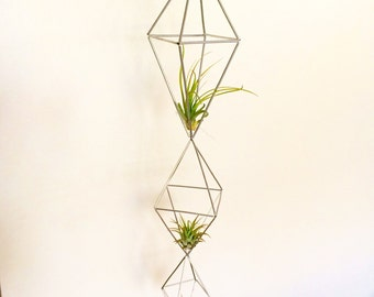 Silver Geometric Air Plant  Drop Cage