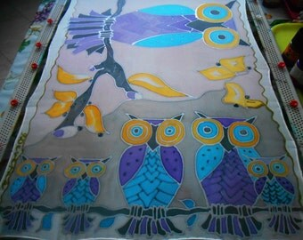 """OWL COLORFUL(17x70"""") Hand painted long silk scarves,Hand made violet silk scarves,Hand made green silk scarf,Hand dued yellow silk scarves"""
