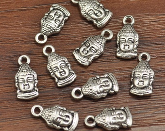 Antiqued Silver Kuan Yin Charms, Buddha Head Charms, Buddha Head Pendant  Doubled sided 8 x 12 mm