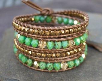 Green and bronze wrap bracelet