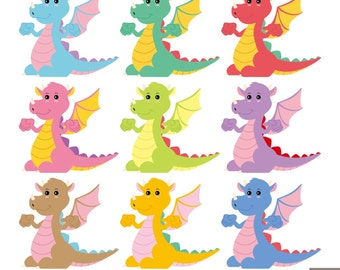 Cute Dragon Digital Clipart