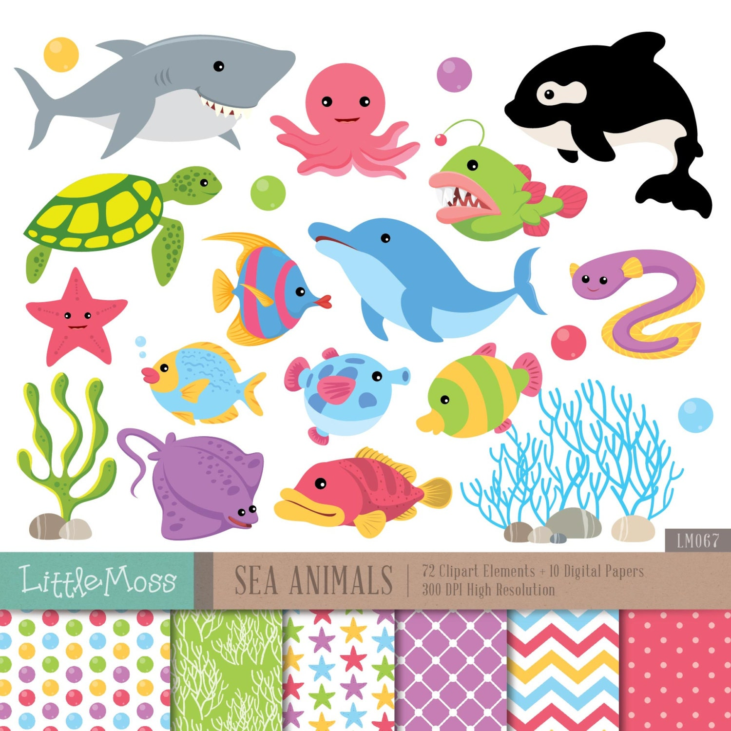 Clip Art Under The Sea Clip Art sea clipart etsy animals digital and papers under the whale dolphin turtle coral shark clipart