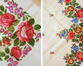 Vintage big woolen shawl Woolen scarf with floral pattern #90 - set of 2