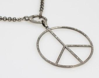 Pave Diamond Peace Pendant