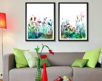 Flowers Art Print Set, Home Decor Watercolor Flowers Painting, Wall Art Print Poster, Watercolor Art, Botanical Art (61)