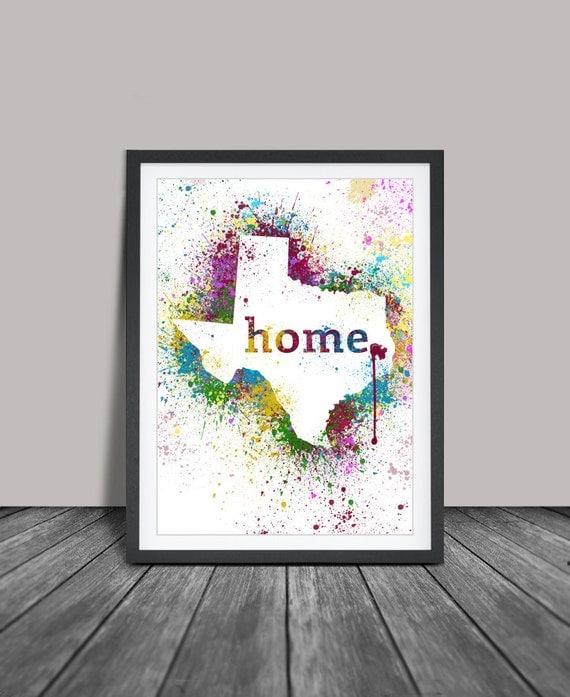 texas wall art art print texas decor texas map by fineartcenter. Black Bedroom Furniture Sets. Home Design Ideas