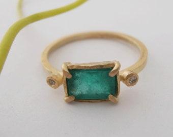 Alternative Engagement ring.Emerald 14kt Gold Ring,  Gold Ring, Green Stone Ring, Green Stone, Emerald Gemstone, Diamond Ring