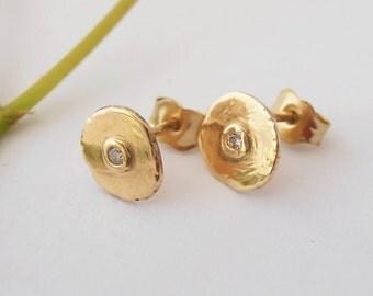 14kt Gold Disc Earrings,  Diamonds. Diamonds Earrings, Solid Gold Earrings, Gold Jewelry, Stud Earrings