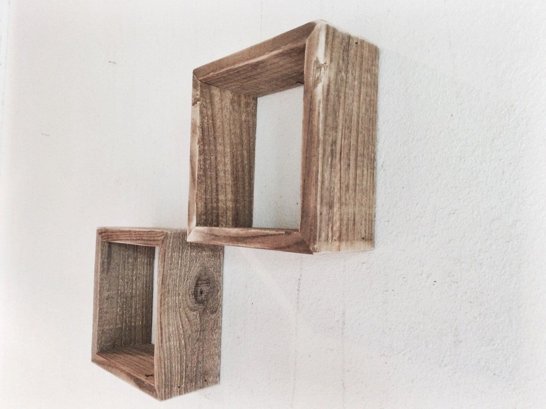 wood shelves reclaimed wood set of two square wood. Black Bedroom Furniture Sets. Home Design Ideas