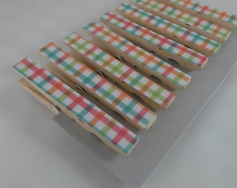 Plaid Decorative Clothespins, Set of 8 Clothespins, Decoupage Clothespins, Cute Desk Accessories, Office Organization, Nursery Decor