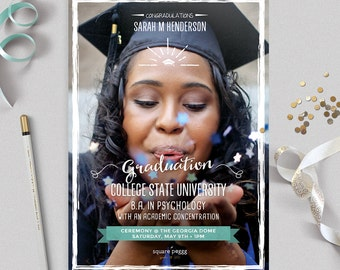 Graduation Announcement / Graduation Photo Card / Graduation Invitation / Graduation Invite / Class of 2017/  No. 042