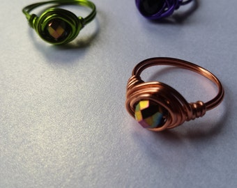 Wire Wrapped Oval Faceted Glass Bead Rings, Various colours