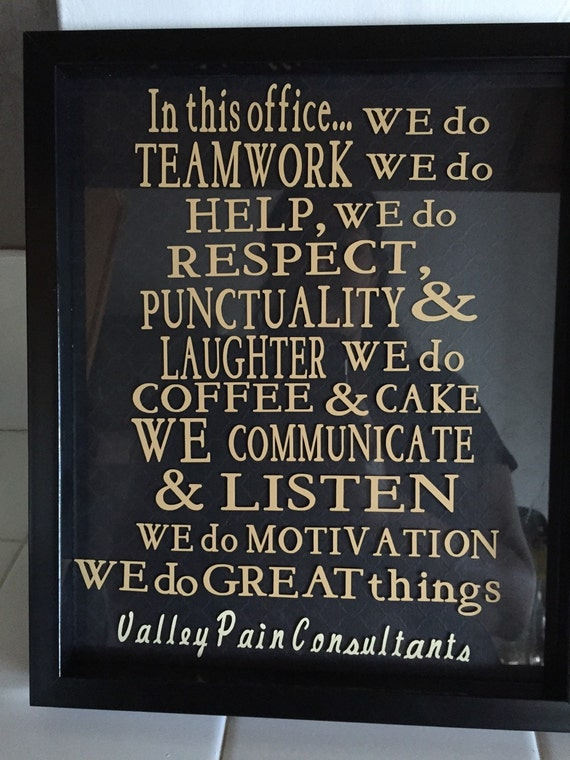 Office Rules Framed Glass Decor Breakroom Decor By