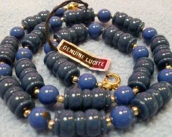 Vintage Blue Lucite Necklace with original hangtag!