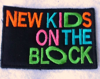 New Kids on the Block Applique Patch - Iron on - Embroidered - Neon  NKOTB