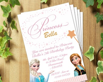 PRINTED & DELIVERED: 20 Frozen Elsa Personalized party invites invitations for kids birthday parties! Gorgeous!!